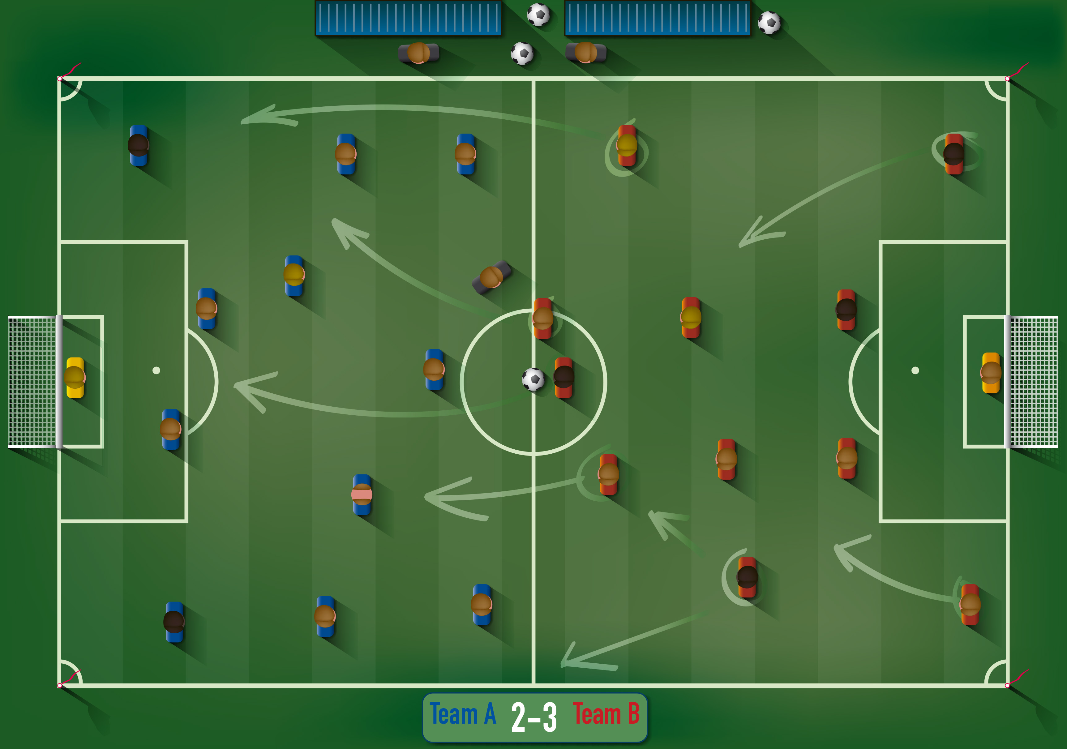 Soccer field tactical scheme