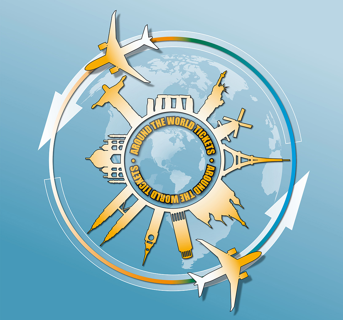 vector illustration of travel famous monuments around world with planes and arrows